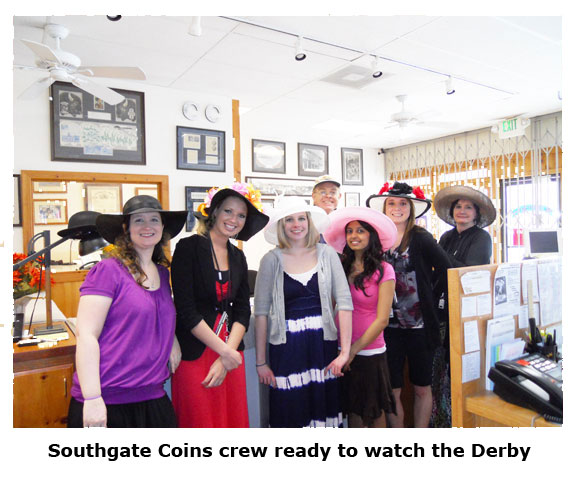 Southgate Coins girls and owners Rusty and Marie Goe pose for Kentucky Derby Day