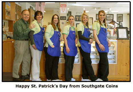 Southgate Coins goes green for St. Patrick's Day