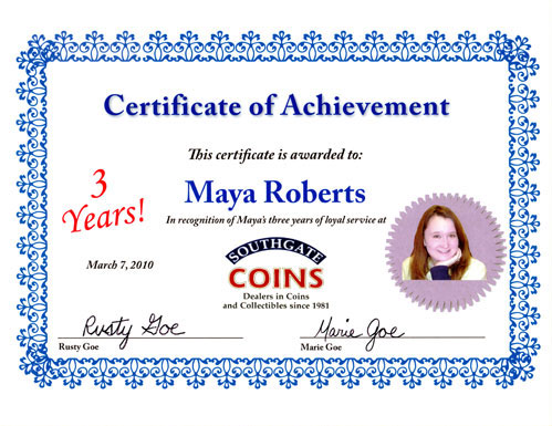 Southgate Coins owners Rusty and Marie Goe honor Maya Roberts on her anniversary