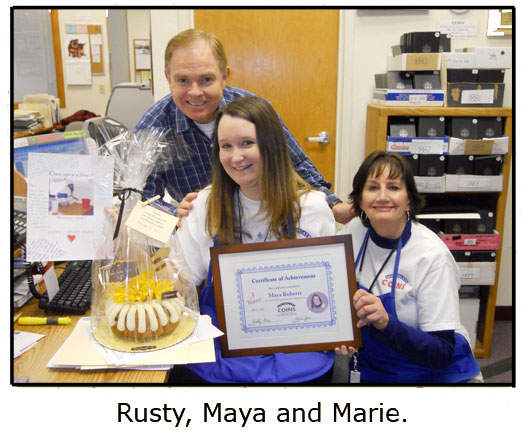 Southgate Coins honors Maya Roberts for her 3 year employee anniversary