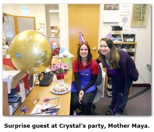 Southgate Coins employee Maya wishes Crystal a happy birthday at the coin shop