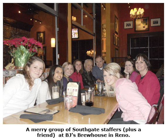 Southgate Coins staff is treat to BJs Brewhouse in Reno for Christmas dinner