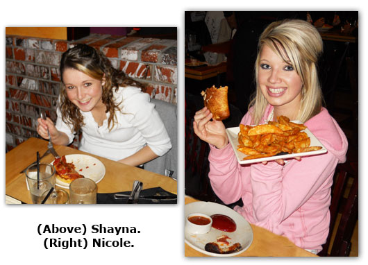 Coin shop crew members Shayna and Nicole enjoy a Christmas dinner with the rest of the staff