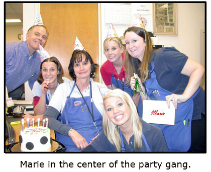 Southgate Coins owner and staff celebrates Marie on her birthday
