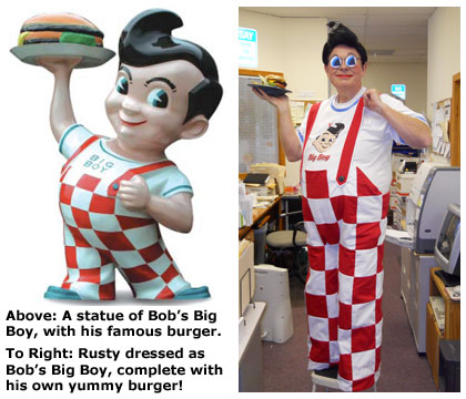 Southgate Coins owner Rusty Goe dresses as Bob from Bob's Big Burger on Halloween