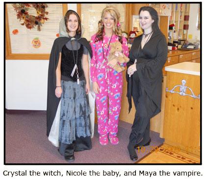 Southgate staffers Crystal, Nicole, and Maya show their Halloween spirit