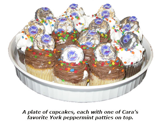Cara receives a plate of cupcakes on her one-year anniversary