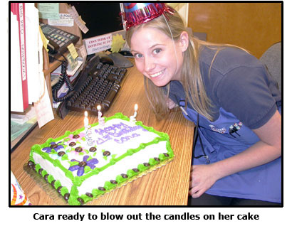Cara receives a decadent cake for her birthday at Southgate Coins