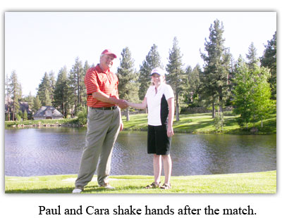 Cara and Paul shaking hands after the match