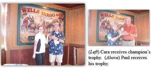 Cara and Paul receive their trophies for participation in the golf tournament
