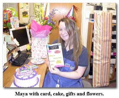Maya receives her birthday card at Southgate Coins