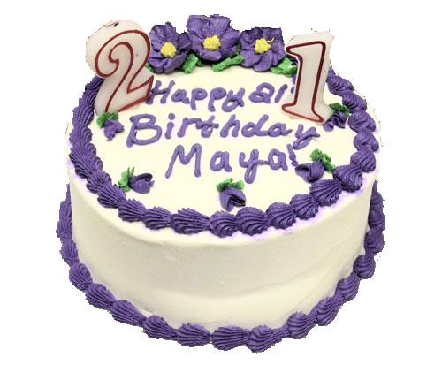 Maya enjoys a decadent purple birthday Cake at Southgate Coins