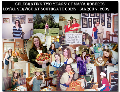 Southgate Coins employee Maya Roberts receives a collage poster for her 2 year anniversary