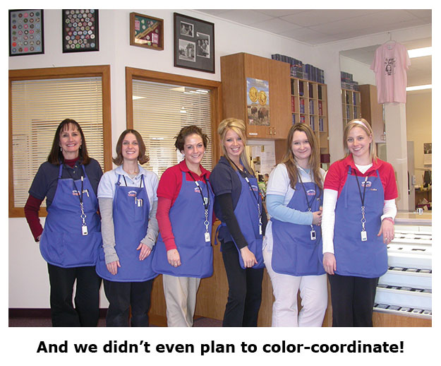 Color-coordinated Southgate Coins employees celebrate Valentine's Day