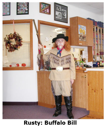 Southgate Coins owner Rusty Goe dresses as Buffalo Bill for Halloween