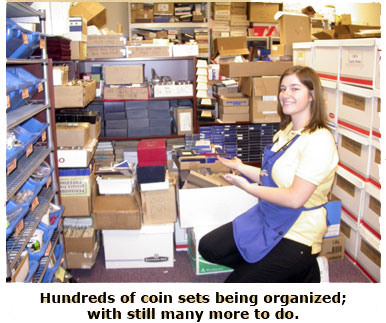 Brittany sorts through hundreds of coin sets