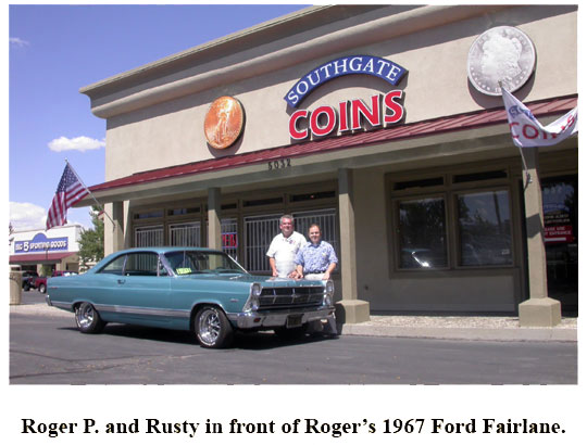 Southgate Coins owner Rusty meets with coin collector and car lover Roger
