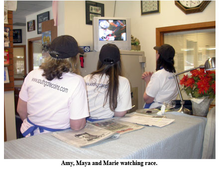 Amy, Maya, and Marie watch the Belmont Stakes at Southgate Coins