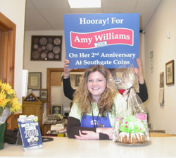 Amy Williams is honored on her 2nd anniversary at Southgate Coins