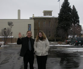 Amy and Rusty pose south of the original Carson City Mint building