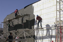 The Southgate Coins exterior gets prepped for new stucco