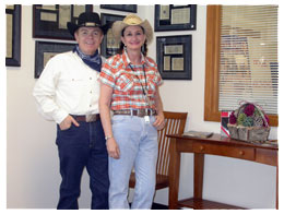 Southgate Coins employees Rusty and Marie Goe during Reno Rodeo days