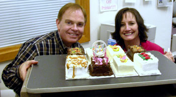 Rusty surprises Marie on her birthday with every type of cake the bakery made.