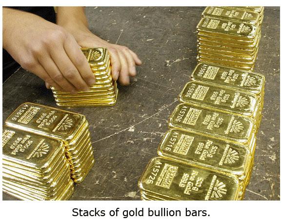Stacks of 500g bars of gold bullion