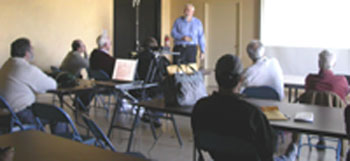 Bob Nylen presents a lecture to members of the Carson City Coin Collectors of America