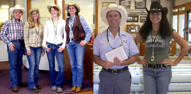 The Southgate Coins employees dressed for the rodeo, along with their mailman Brian in his cowboy hat
