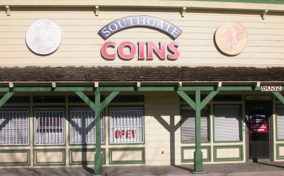 An image of Southgate Coins' storefront, minus the usually pretty coin signs