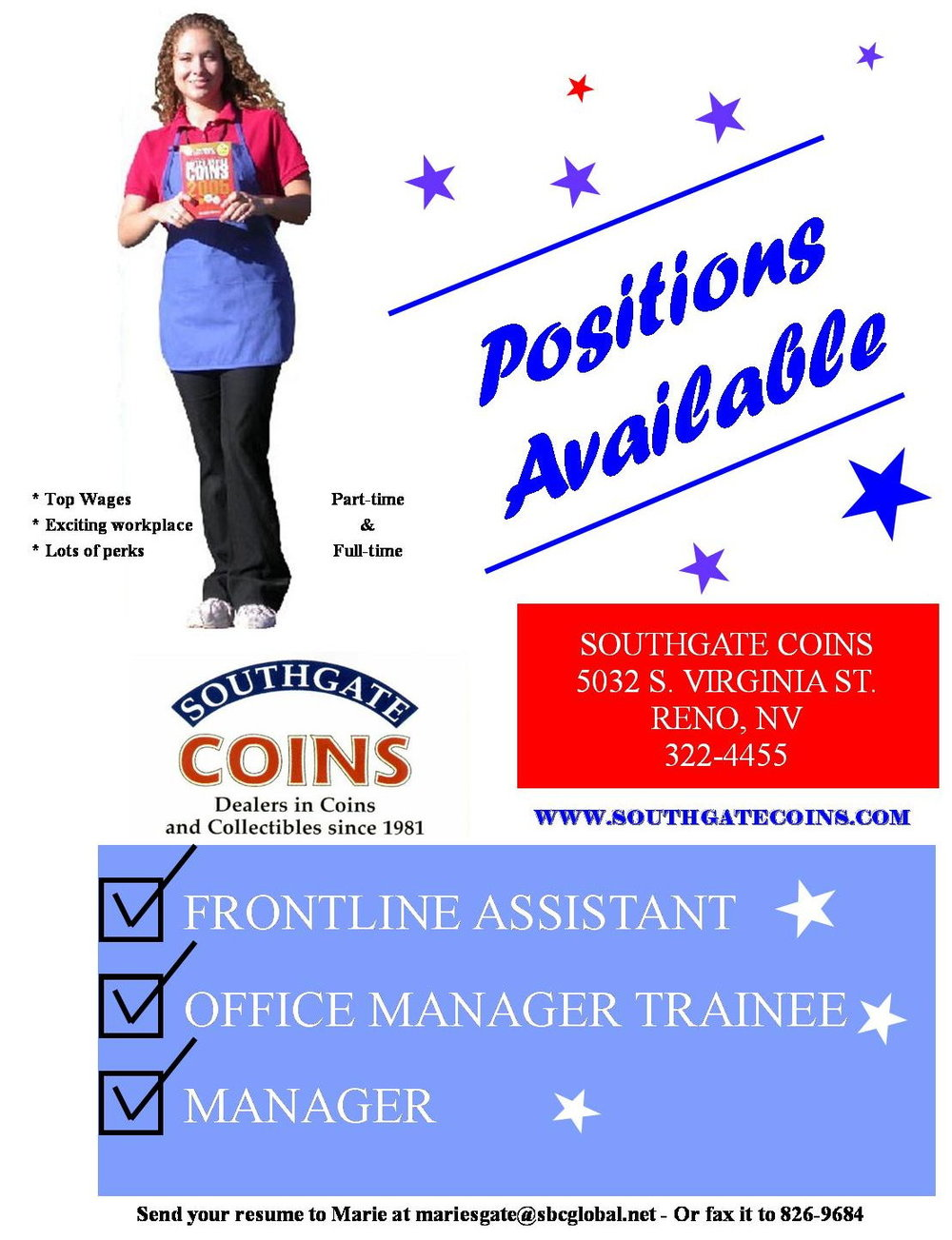 Heather acts as the poster child for Southgate Coins hiring campaign