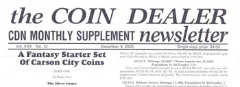 The header of the Coin Dealer Newsletter monthly edition
