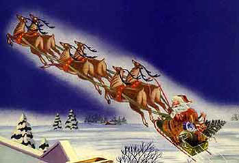 Santa on his sleigh hauling gifts to Southgate Coins