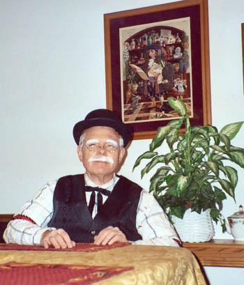 Rusty Goe dressed as an old-timey poker dealer