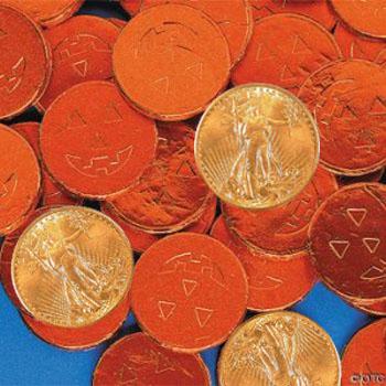 1 oz Gold American Eagles among the jack-o-lanterns
