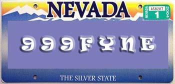A silver-themed license plate design for a coin shop worker