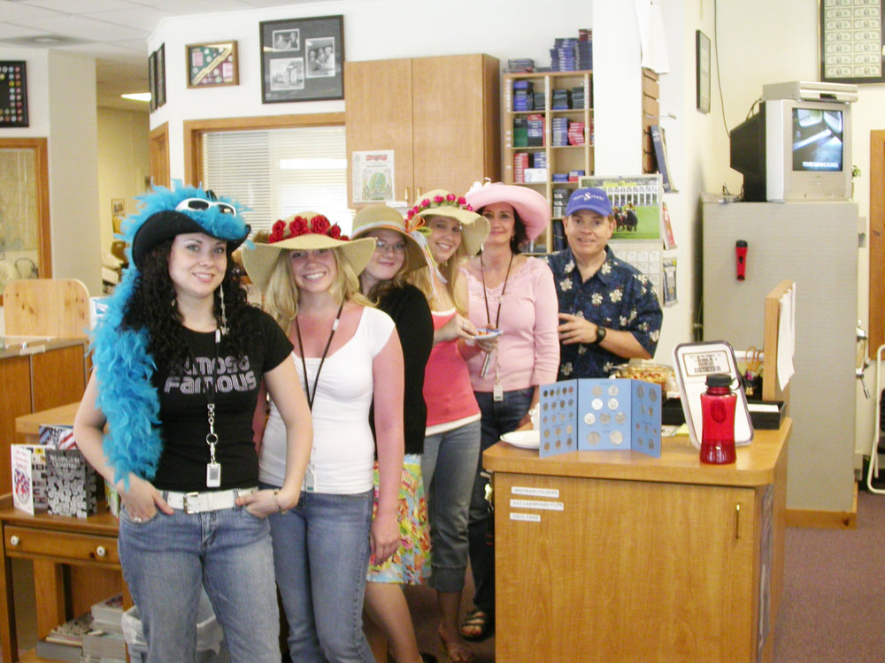 Southgate Coins employees in their Kentucky Derby Day Hats