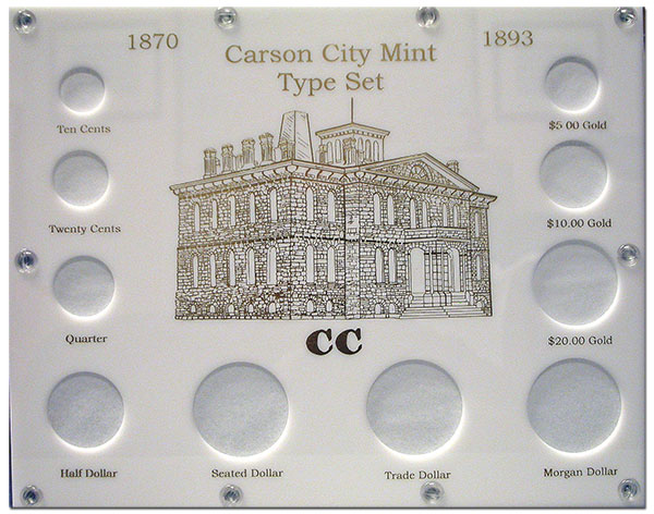 The Capital Plastics 10-Piece Carson City Type Set Holder in White at Southgate Coins