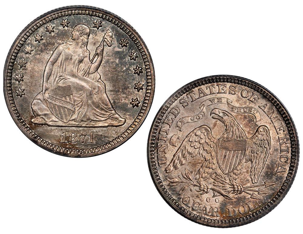 1871-CC Liberty Seated Quarter PCGS MS-65