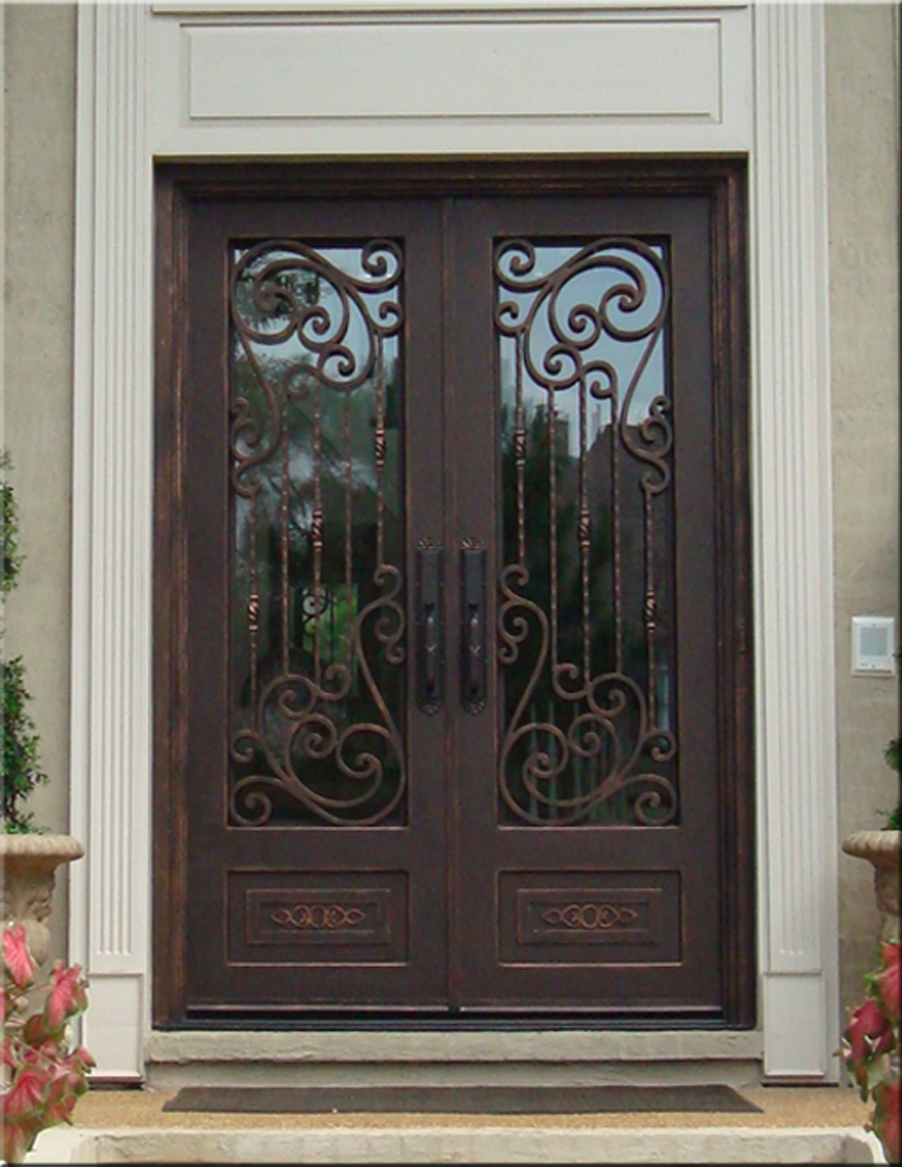 Custom wrought iron doors tuscan iron entries for Door design of iron