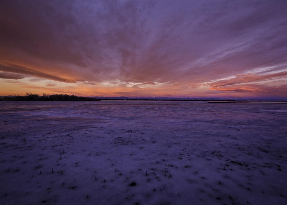 January Sunrise at Barr Lake State Park, Adams County, Colorado.