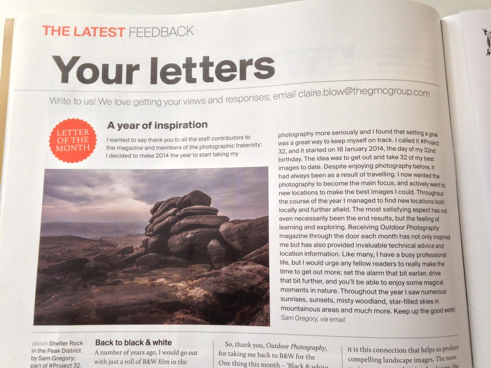 My 'Letter of the  Month' - Outdoor Photography Magazine (March 2015)