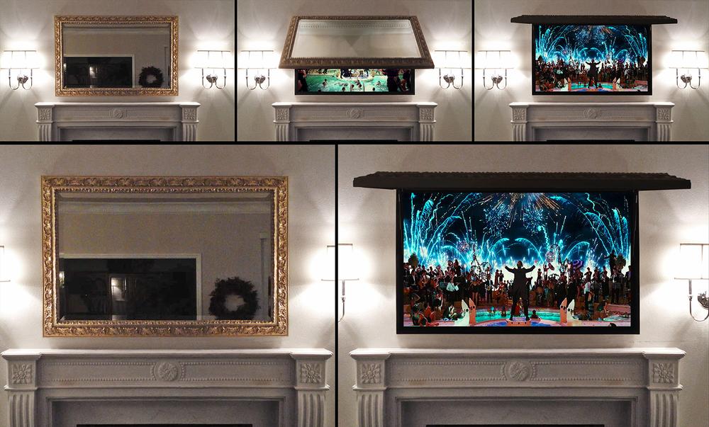 Living Room Installs Tv Cover Ups
