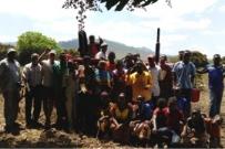Local farmers following training