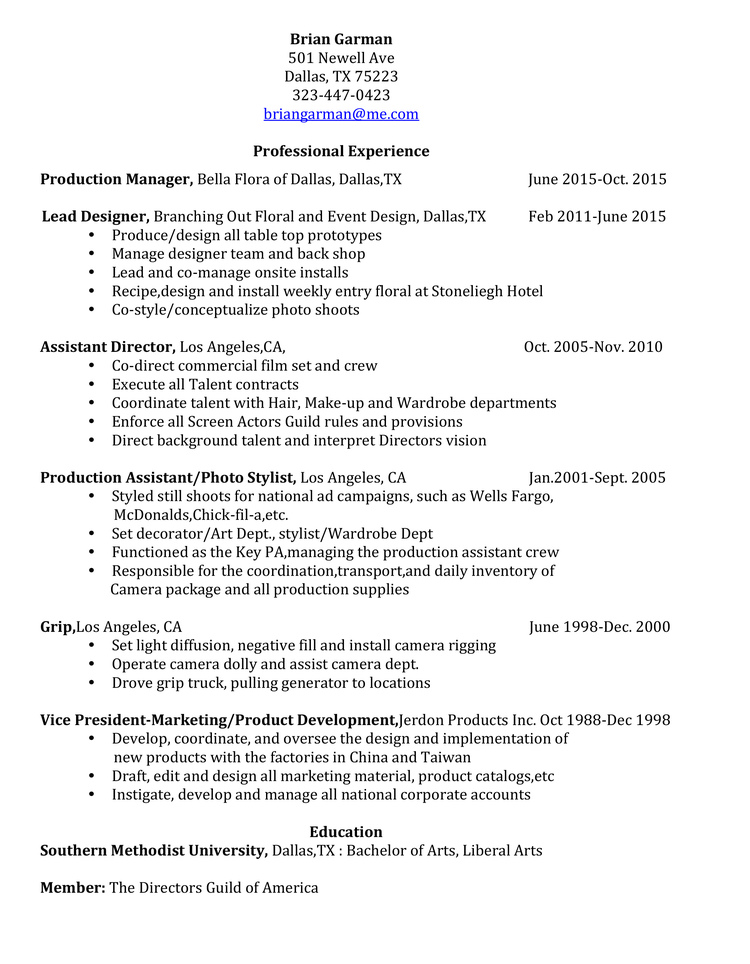 resume brian garman design
