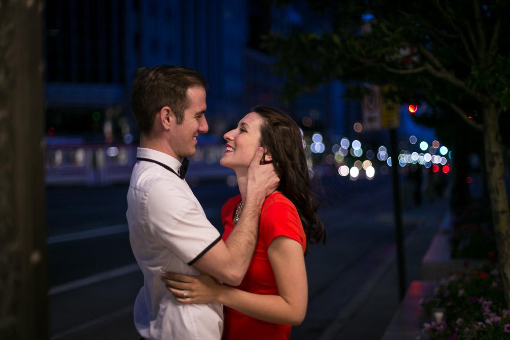 Salt Lake City Downtown Night Engagement Photos