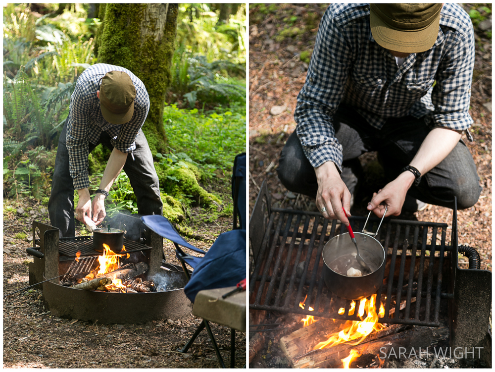 Washington hipster camping cooking fire
