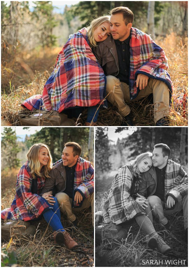 Cozy Blanket Winter Engagement pictures