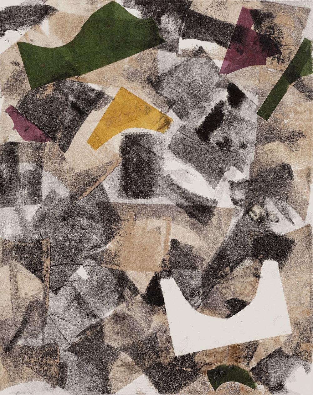 "Mortadella , 2013, monoprint with collage, 8 x 10"", SOLD"